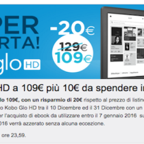 Kobo Glo HD a 109 euro: confermata promozione fino al 25 dicembre