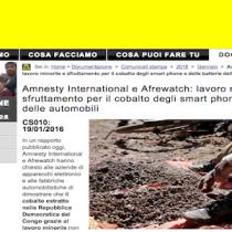 Amnesty all'industria tecnologica e a noi consumatori: stop al lavoro minorile nelle miniere di cobalto