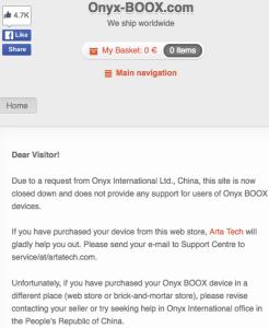 Lo screenshot con cui Arta Tech annuncia la chiusura del sito onyx-boox.com su richiesta della cinese Onyx International.