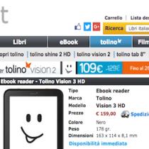 È arrivato in Italia il Tolino Vision 3 HD distribuito Ibs.it