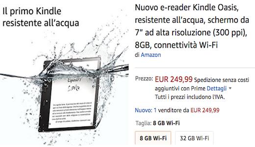 Amazon Kindle Oasis, l'ereader 7 pollici che resiste all'acqua