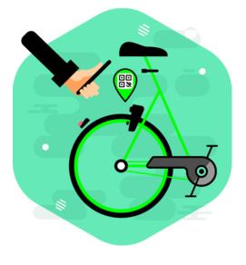 Le istruzioni per scansionare il codice QR e sbloccare una Gobee bike.
