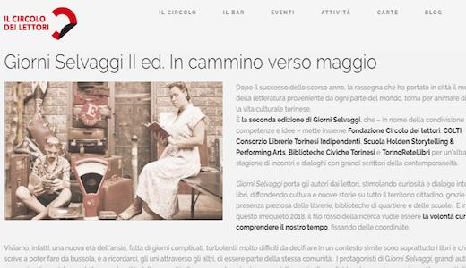 A Torino gli scrittori per Giorni selvaggi
