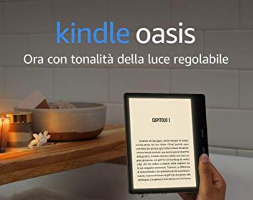 Il nuovo ereader Kindle Oasis Amazon, con luce a tonalità regolabile