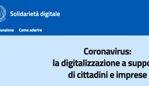 Solidarietà digitale è l'innovazione nel periodo di coronavirus