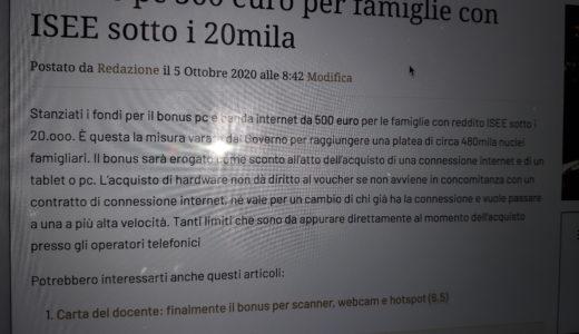 Bonus pc 500 euro per famiglie con ISEE sotto i 20mila