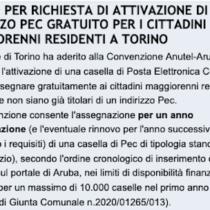Richiedi la tua casella Pec gratuita se risiedi a Torino