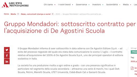 Mondadori acquisisce De Agostini Scuola: si attesta oltre il 32% del mercato editoria scolastica